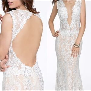 Jovani 99077 White Lace Nude Illusion Dress